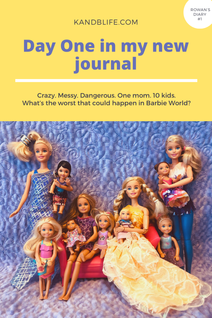 Barbie Doll Story, Day one in my journal, with the whole Barbie Family on it.