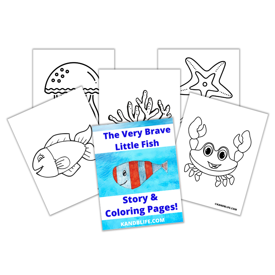 Sample pages from The Very Brave Little Fish Story Coloring Book.