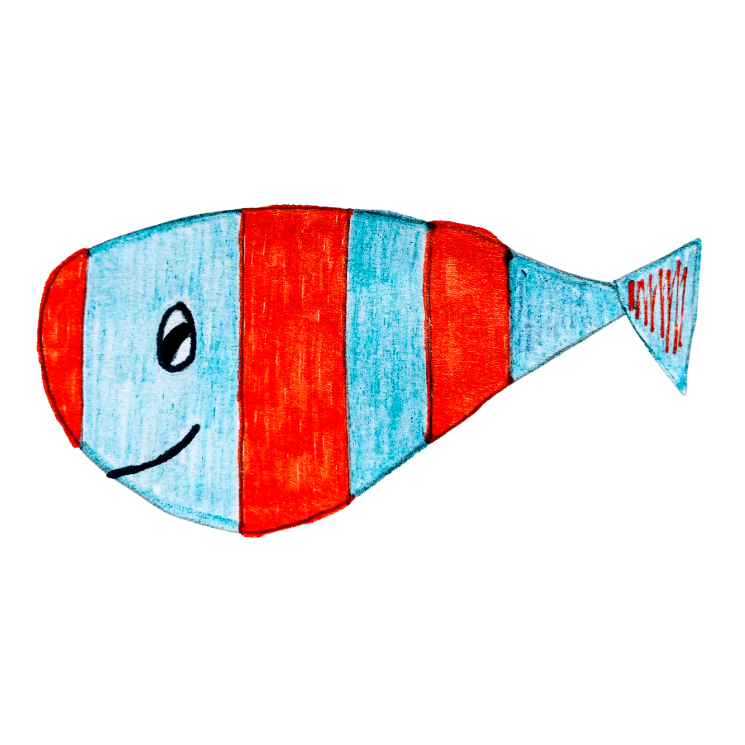 A blue and red striped fish for the children's story, The Very Brave Little Fish.