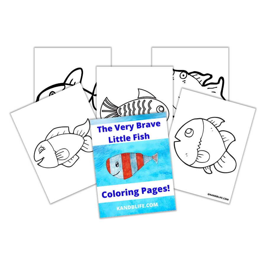 Fish coloring pages to go with the children's story, the Very Brave Little Fish.