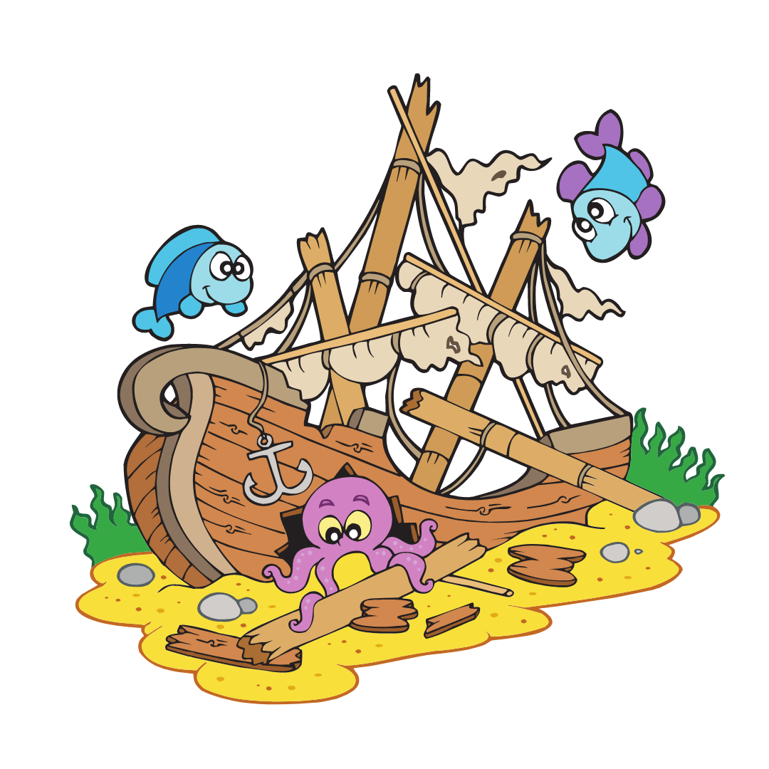 A cartoon looking shipwreck with little ocean animals swimming in and out of it.