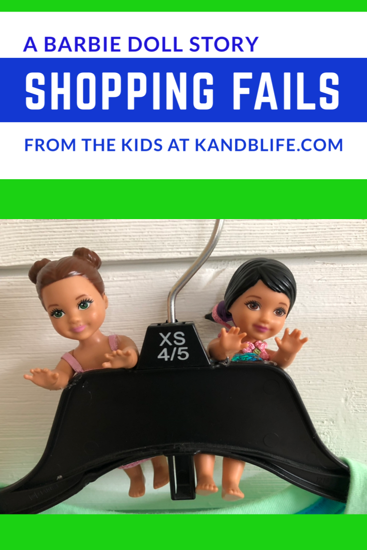 2 little barbie dolls hanging on a hanger for the barbie doll story, Shopping Fails.