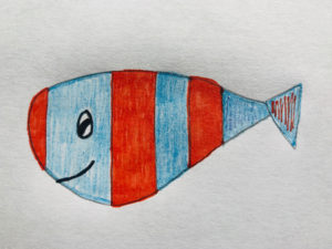 A blue and red striped drawing of a fish in the children's story, The Very Brave Little Fish.
