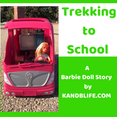 Cover for the Barbie Doll Story, Trekking too School. Lime green background with Barbie driving a pink camper.