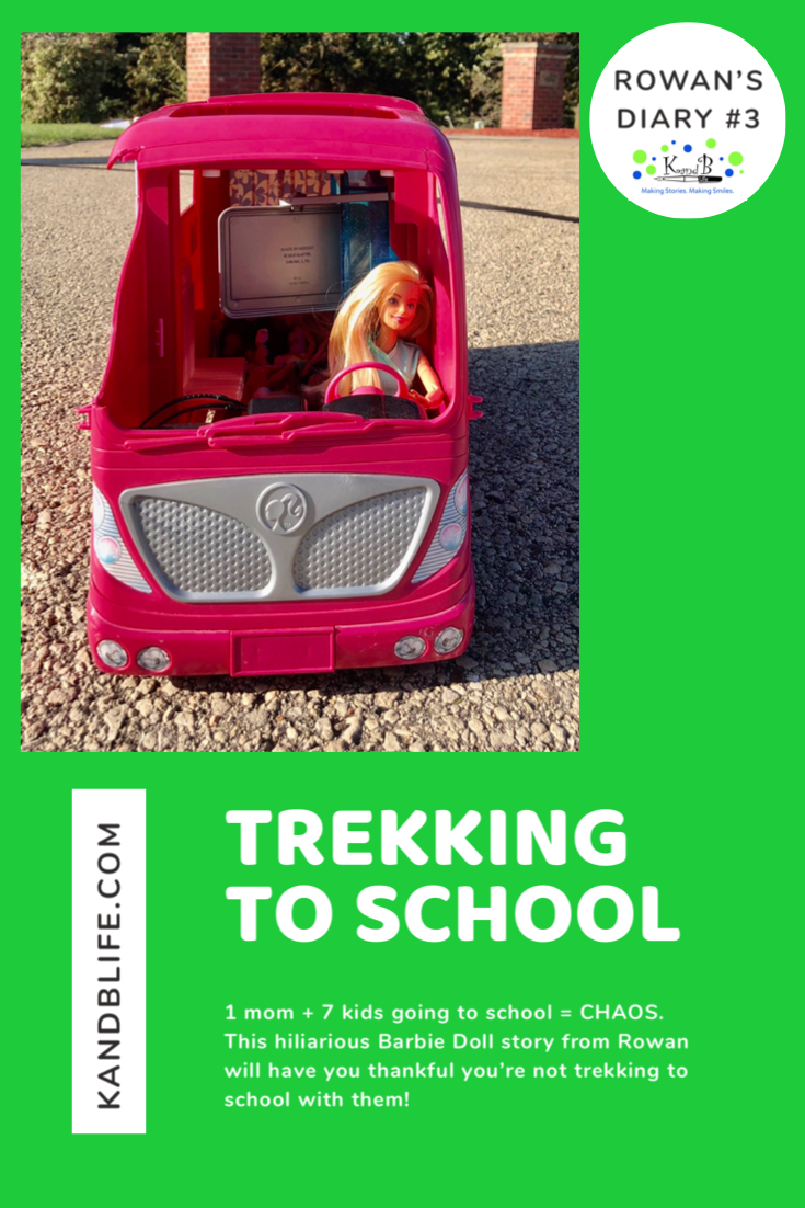 Picture of a Barbie in camper on the road for the Barbie Doll Story, Trekking to School.