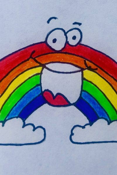 Drawing of a bright, colorful rainbow between 2 clouds with a huge smile on its face, from the children's story Rainbow in Winter.