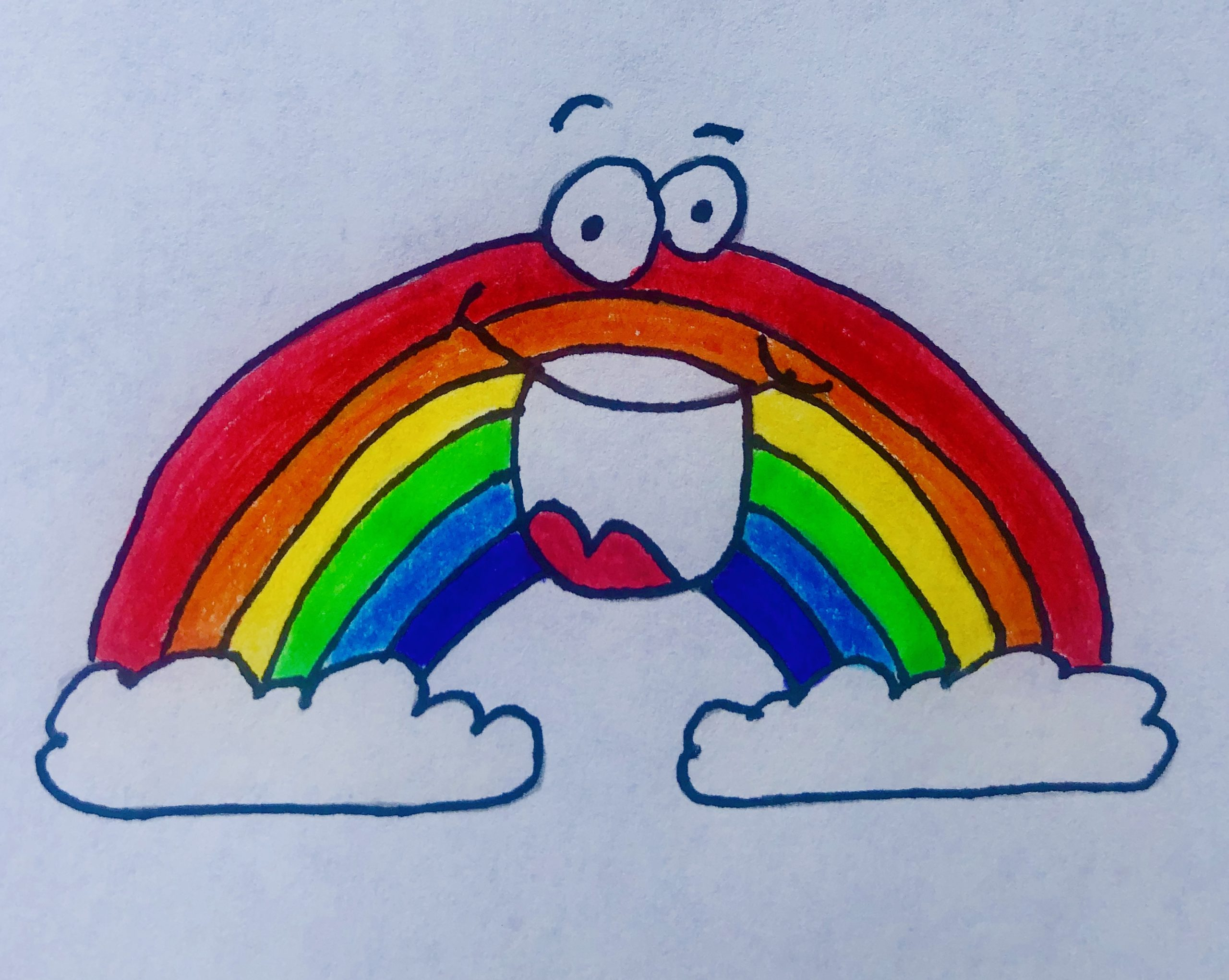 Drawing of a bright, colorful rainbow between 2 clouds with a huge smile on its face, from a children's story Rainbow in Winter.