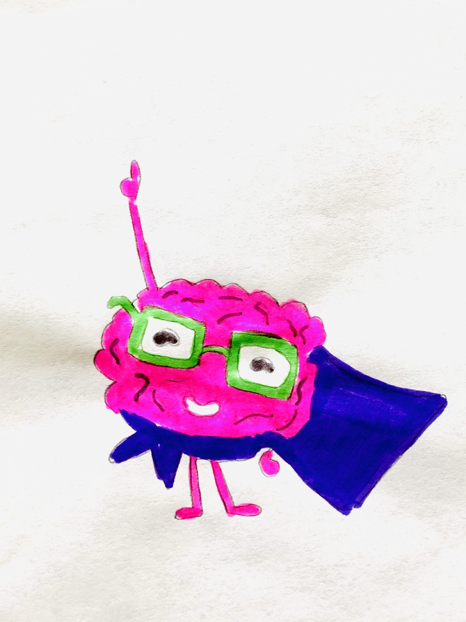 Drawing of a pink brain with glasses and a blue cape in this story for kids.