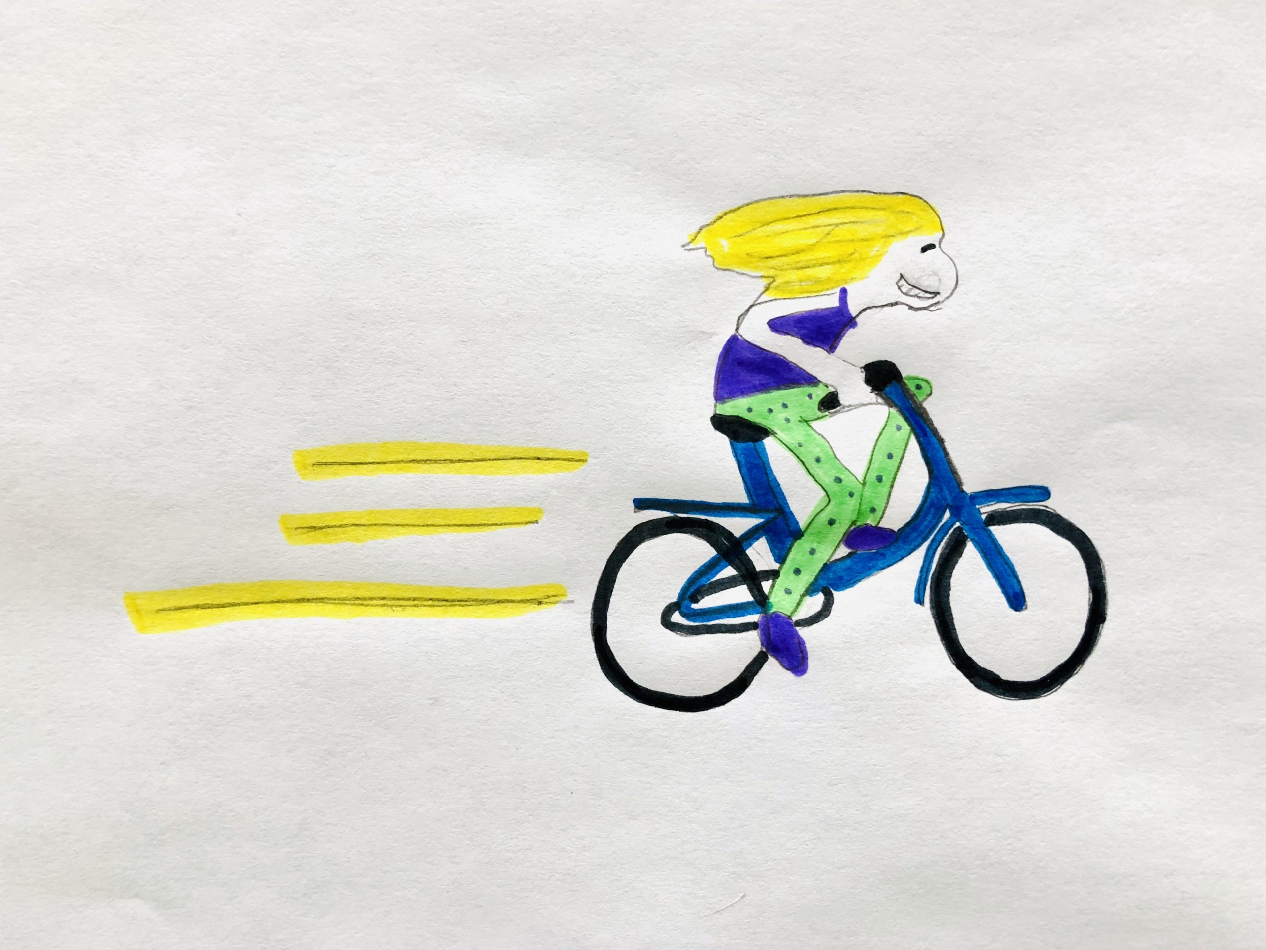 A blonde girl riding her bike super fast in the funny story for kids.