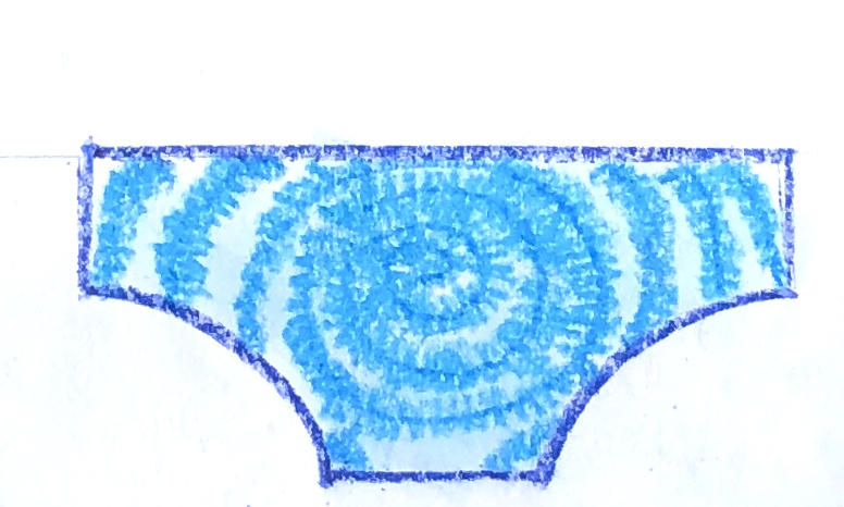 Blue and white tye-dyed underwear for the story for kids, My Underwear has Superpowers.