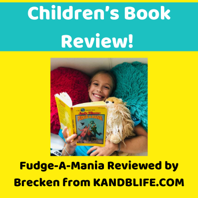 Yellow and Teal cover, with a little girl reading the book, for Fudge-A-Mania Children's Book Review