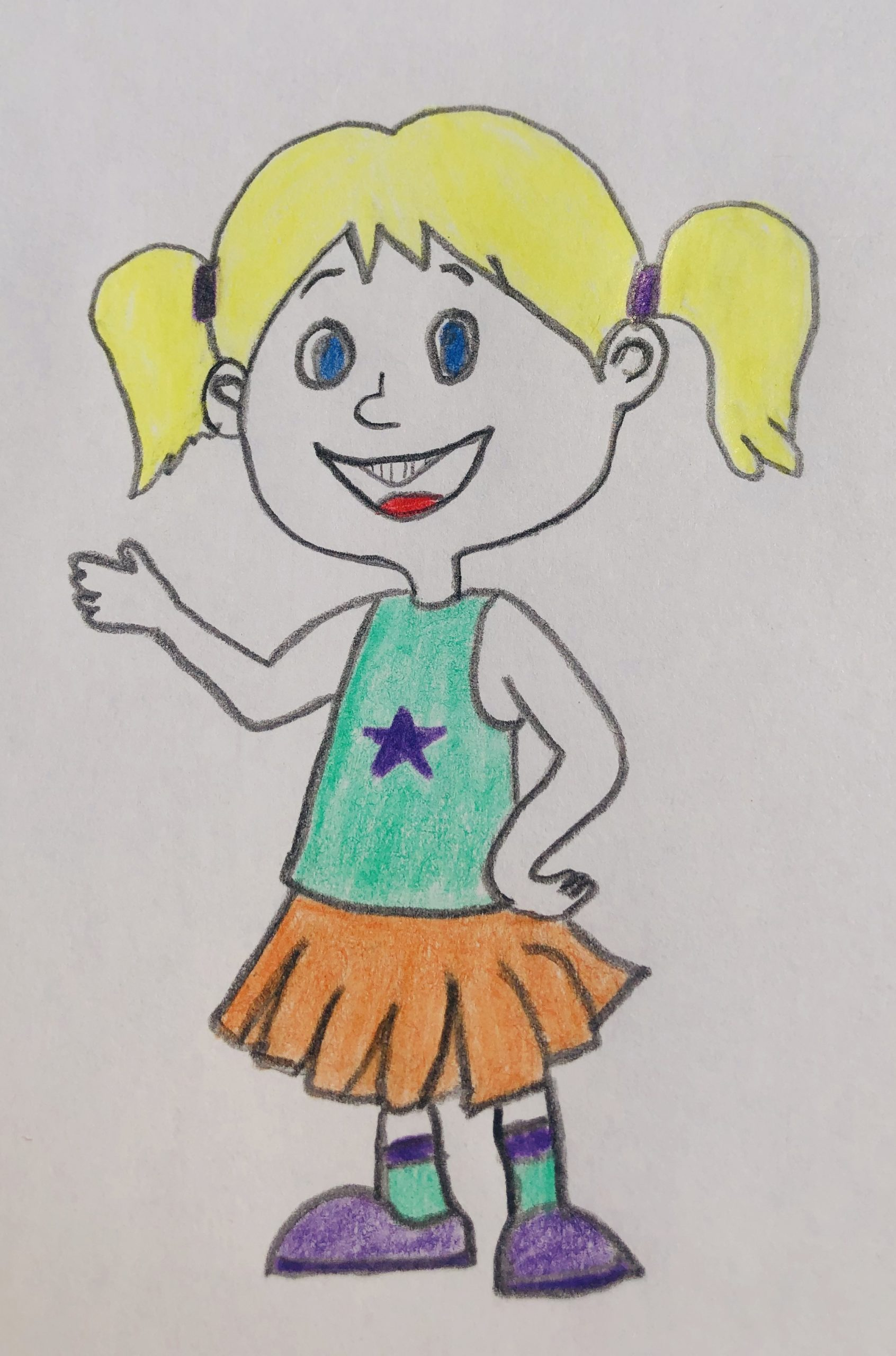 A picture of a pig-tailed blonde haired girl who is Hannah in the story, The Case of the Missing Easter egg. She is wearing a teal tank top, an orange skirt and purple tennis shoes.
