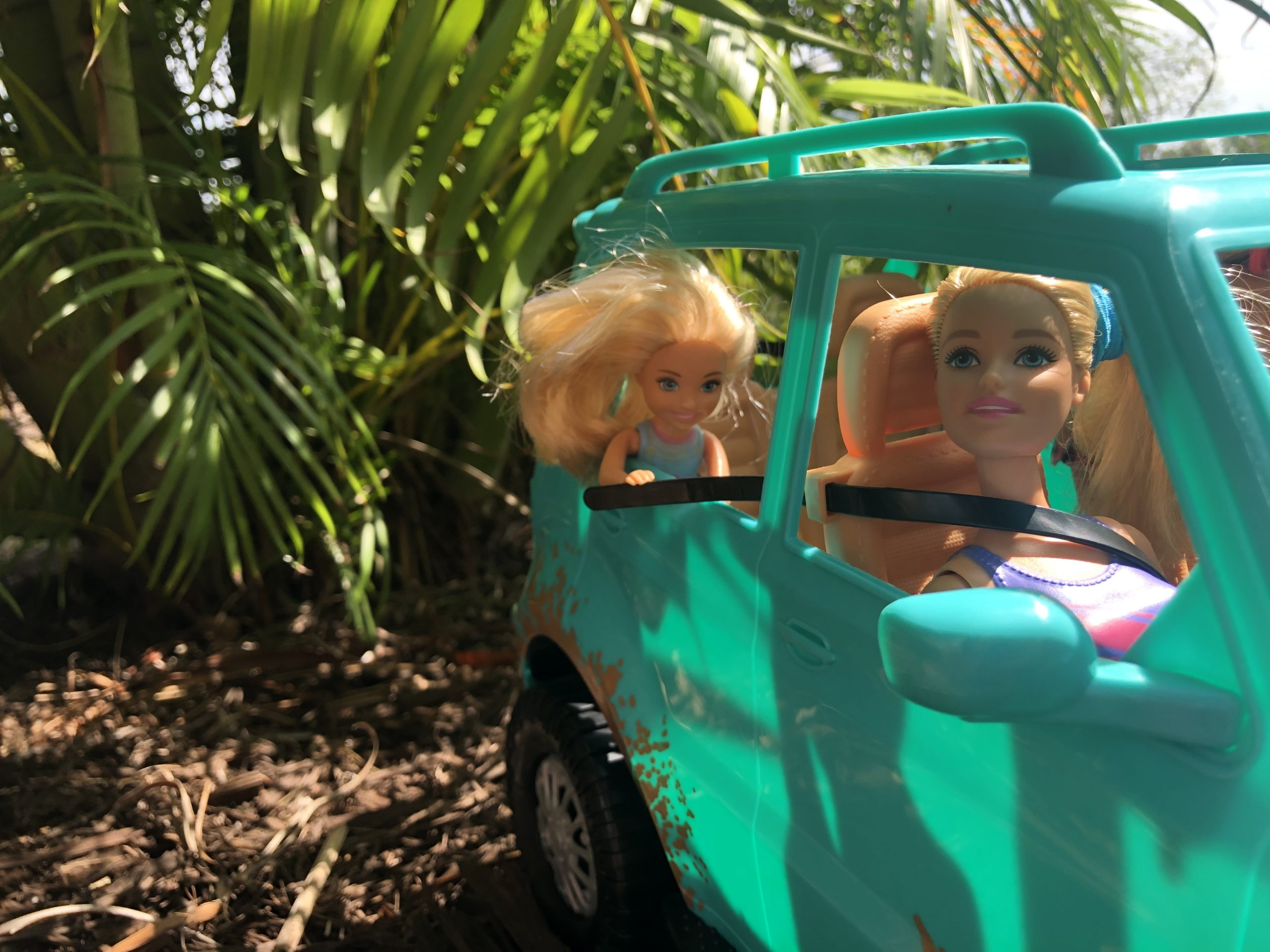 In the teal Barbie Jeep, Barbie is looking out the passenger window and Chelsea is looking out the back window.