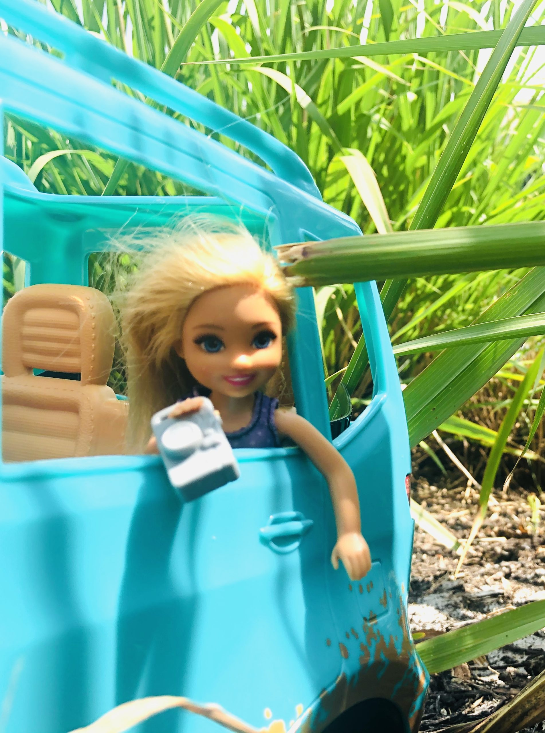 Chelsea doll hanging out the back window of the teal Barbie Jeep taking pictures of the scenery.