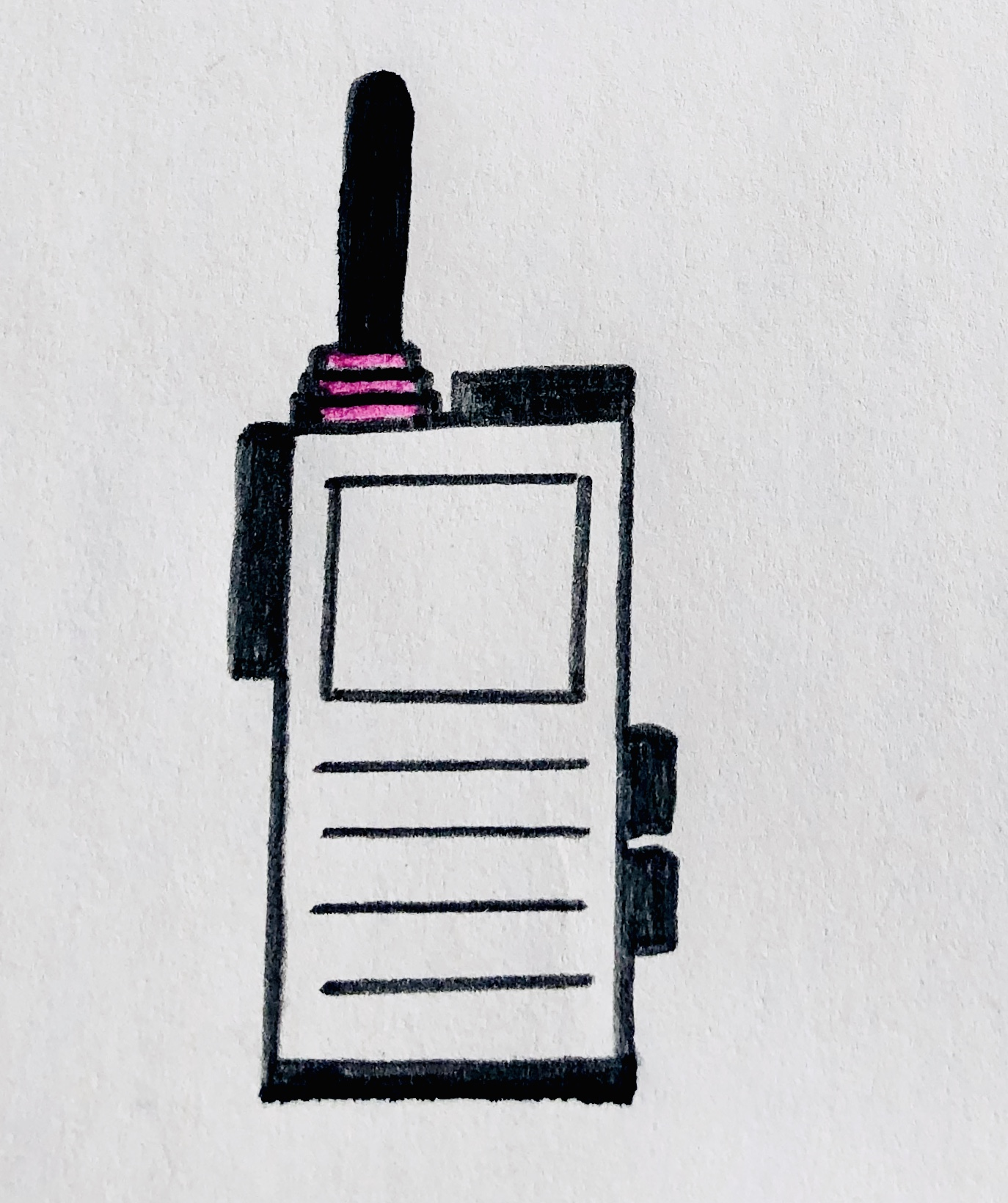 A black walkie talkie Kinley and Ella are using to communicate.