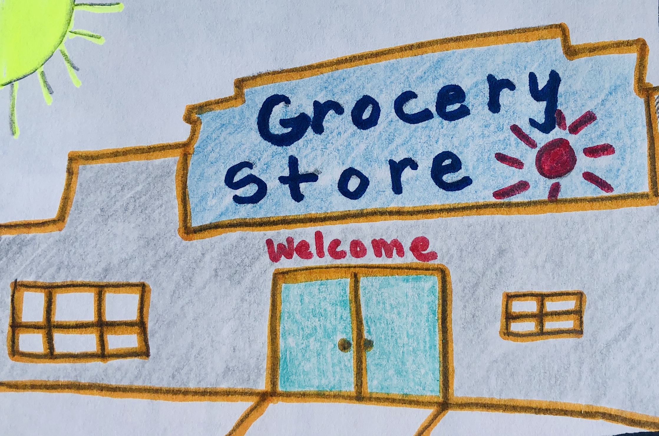 A drawing of a grocery store.