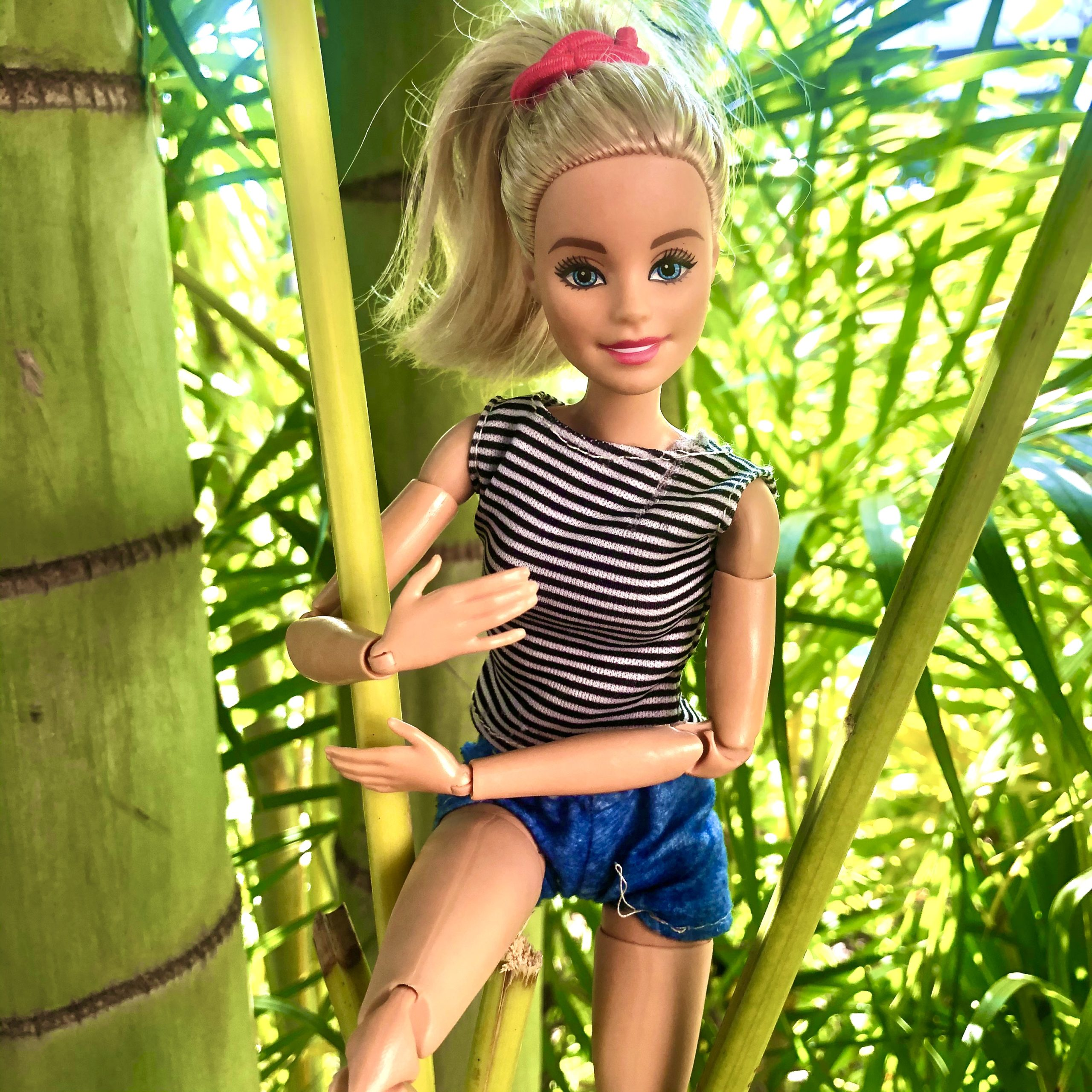 Barbie is in a tree for a Barbie children's story, The Hike Gone Bad