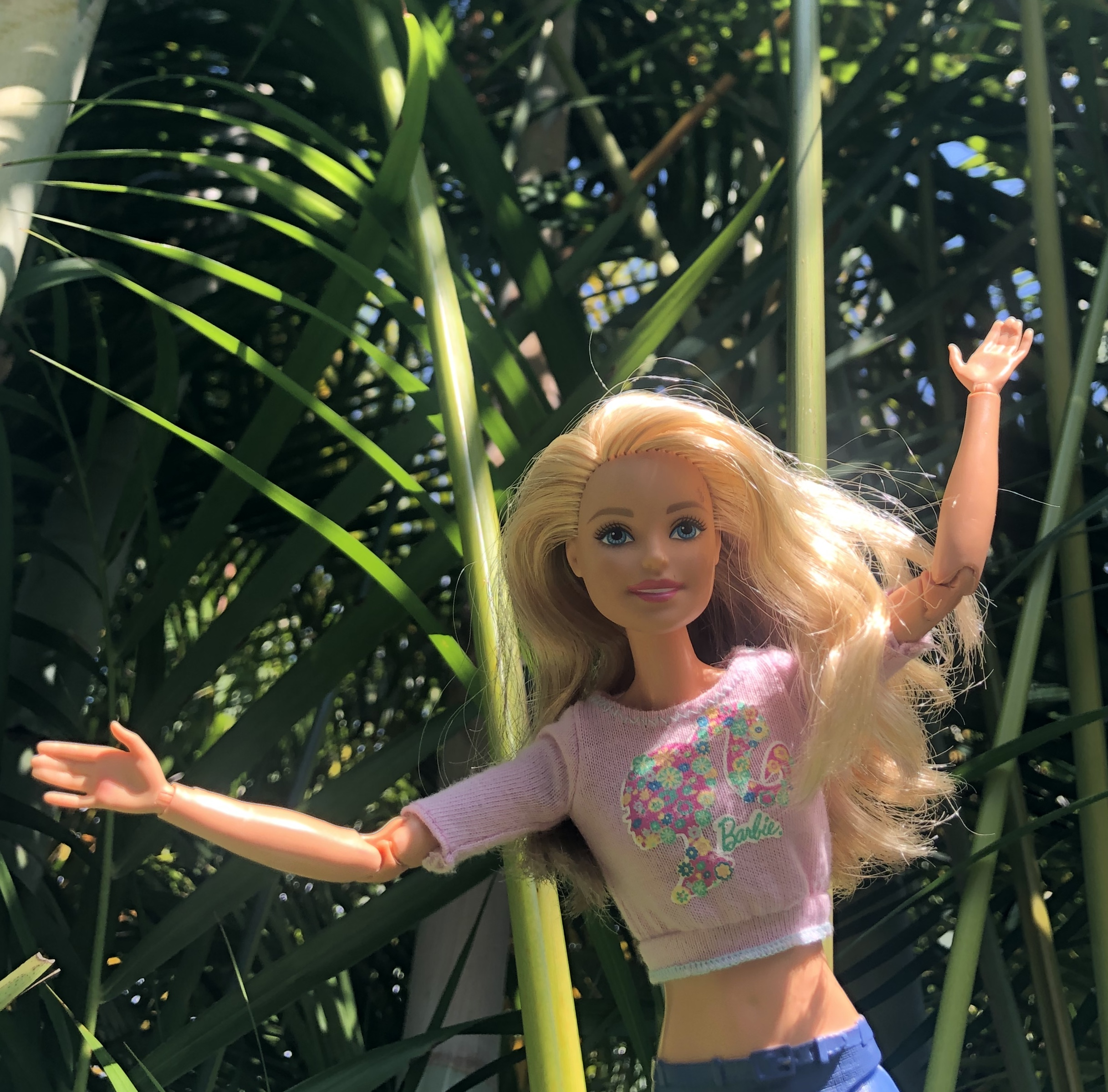 Barbie in a jungle setting for the Barbie Story for kids, Hiking in Costa Rica.