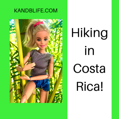 Barbie against a green background for the Barbie story for kids, Hiking in Costa Rica.