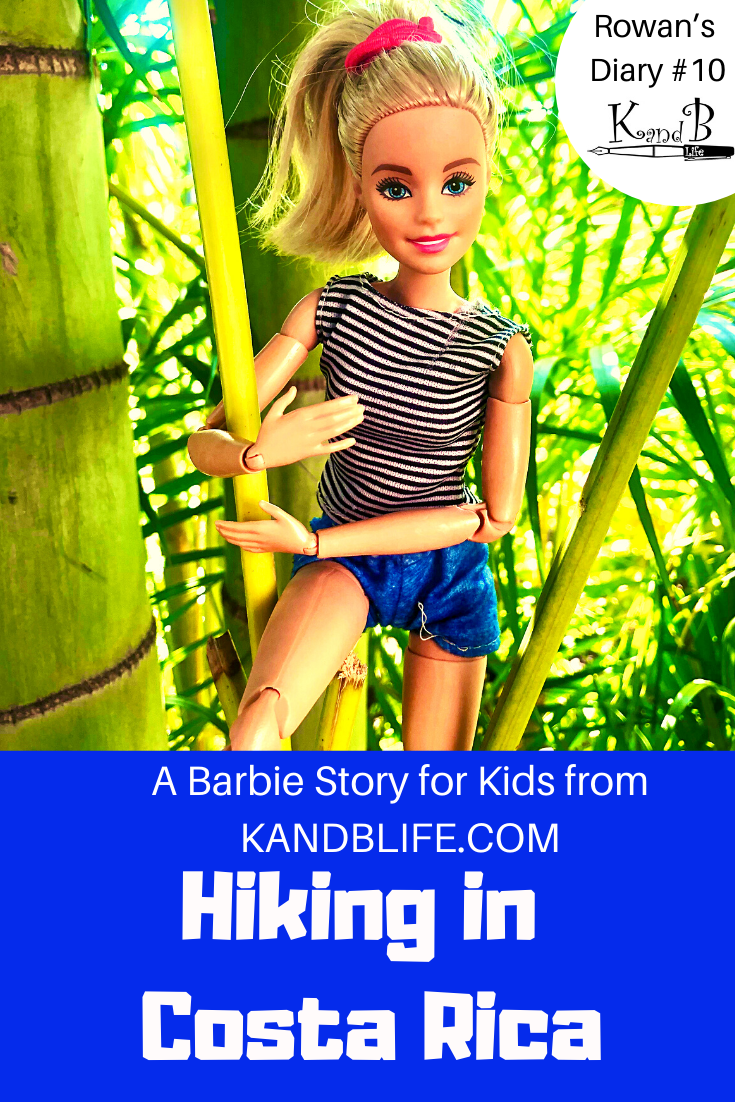 A Barbie Story for kids book cover with Barbie hanging onto a tree. Hiking in Costa Rica is in white letters against a blue background.