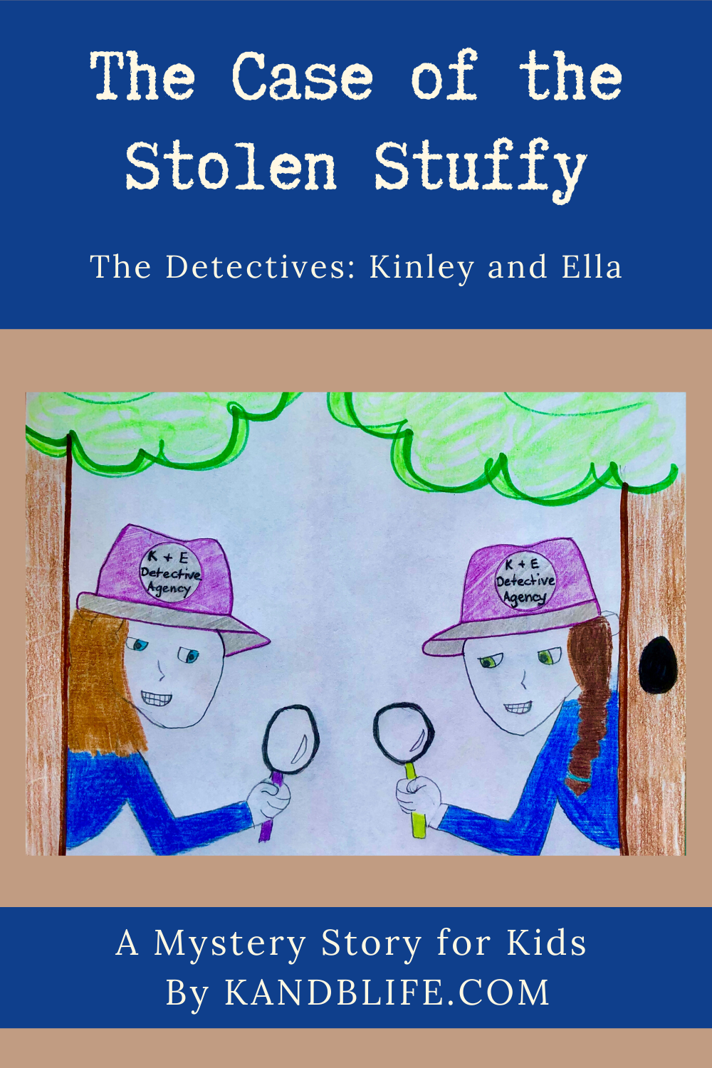 Blue and beige cover of The Case of the Stolen Stuffy. 2 girls, both wearing blue shirts are holding magnifying glasses.