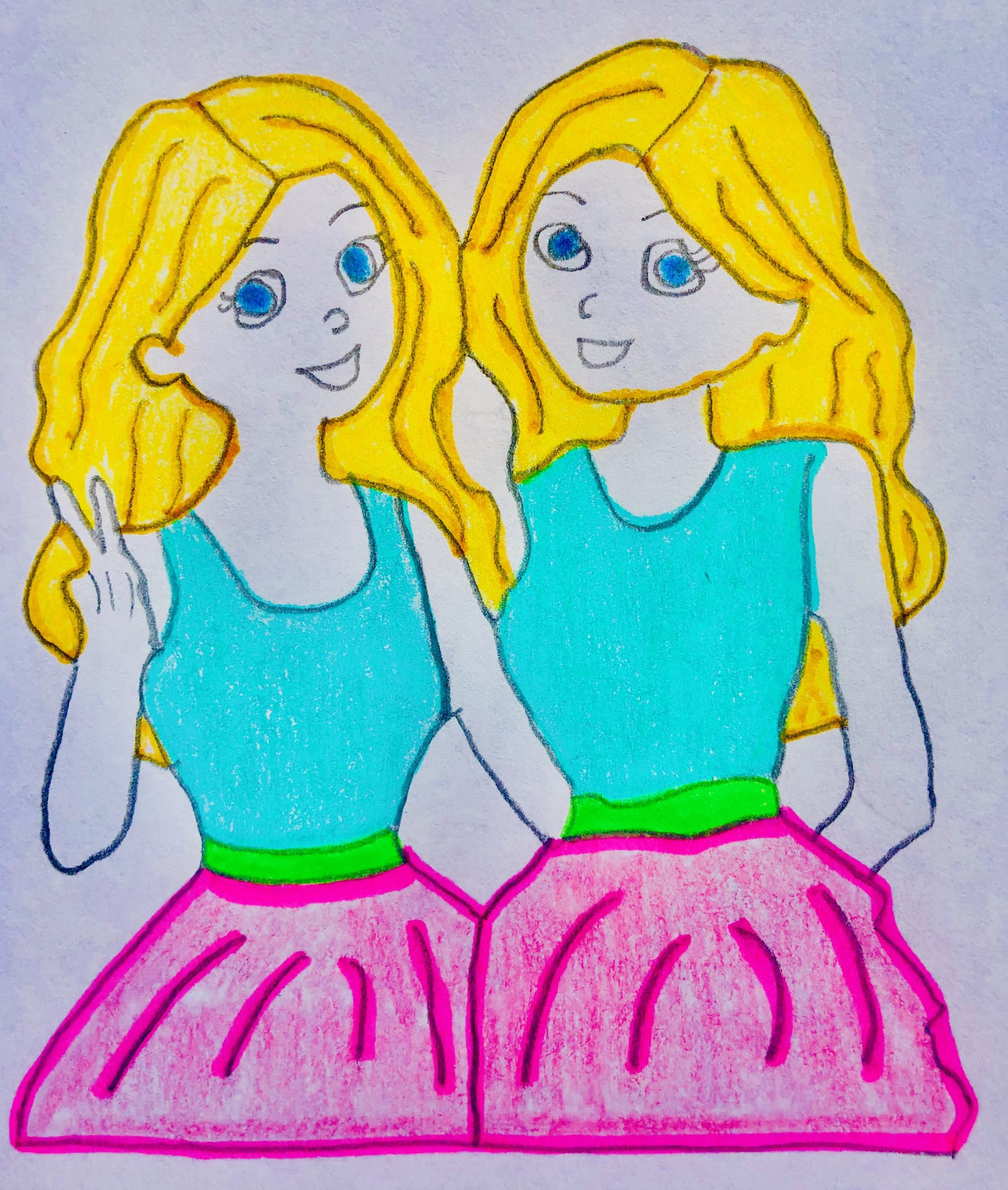 Blonde haired Twins hugging. They have matching teal tank tops and pink skirts on. Short Story for kids, Is that Me?