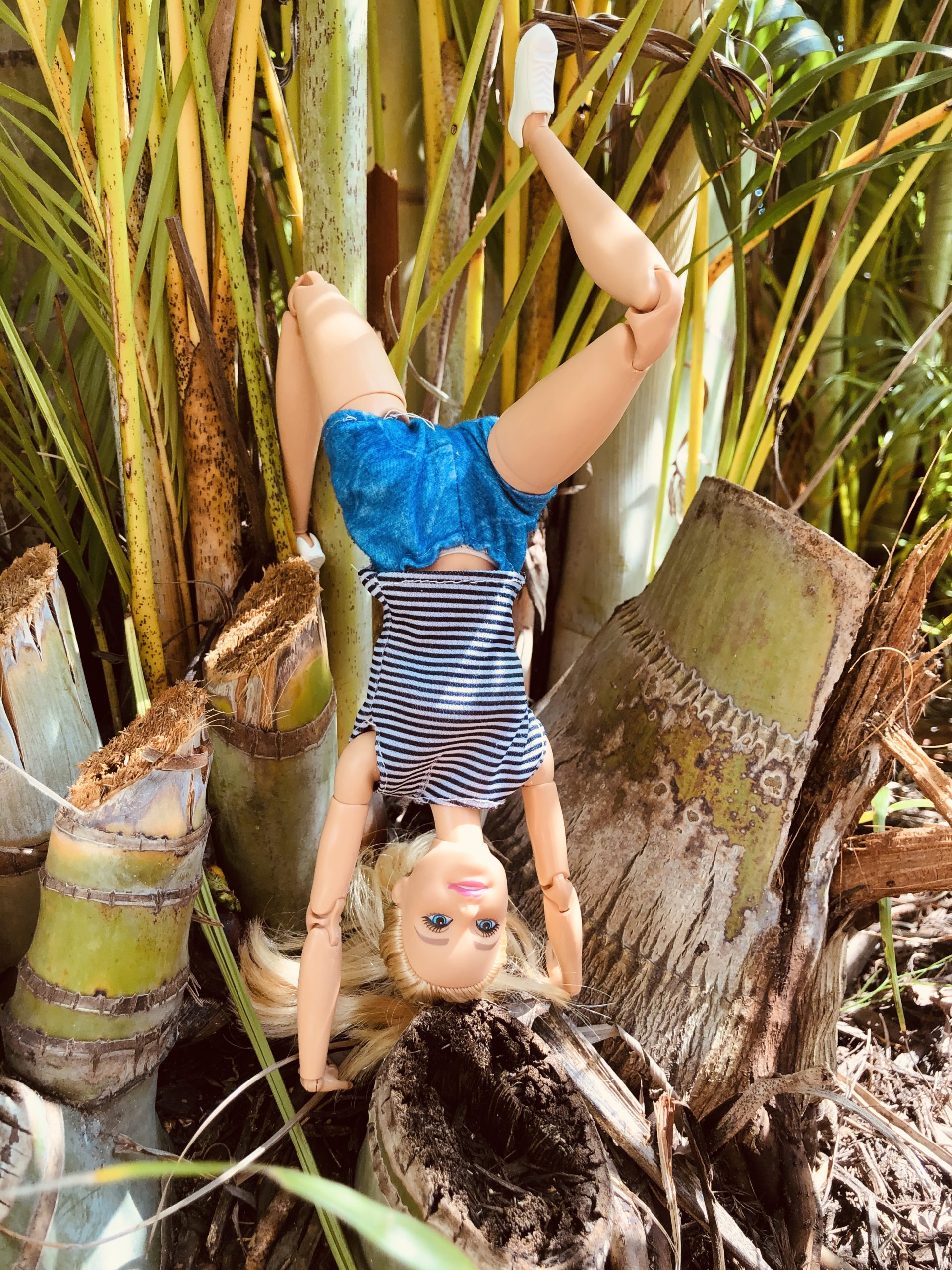 A Barbie, with blue shorts and a blue and white striped shirt, standing on her head in the Barbie Story for kids, Hiking in Costa Rica.