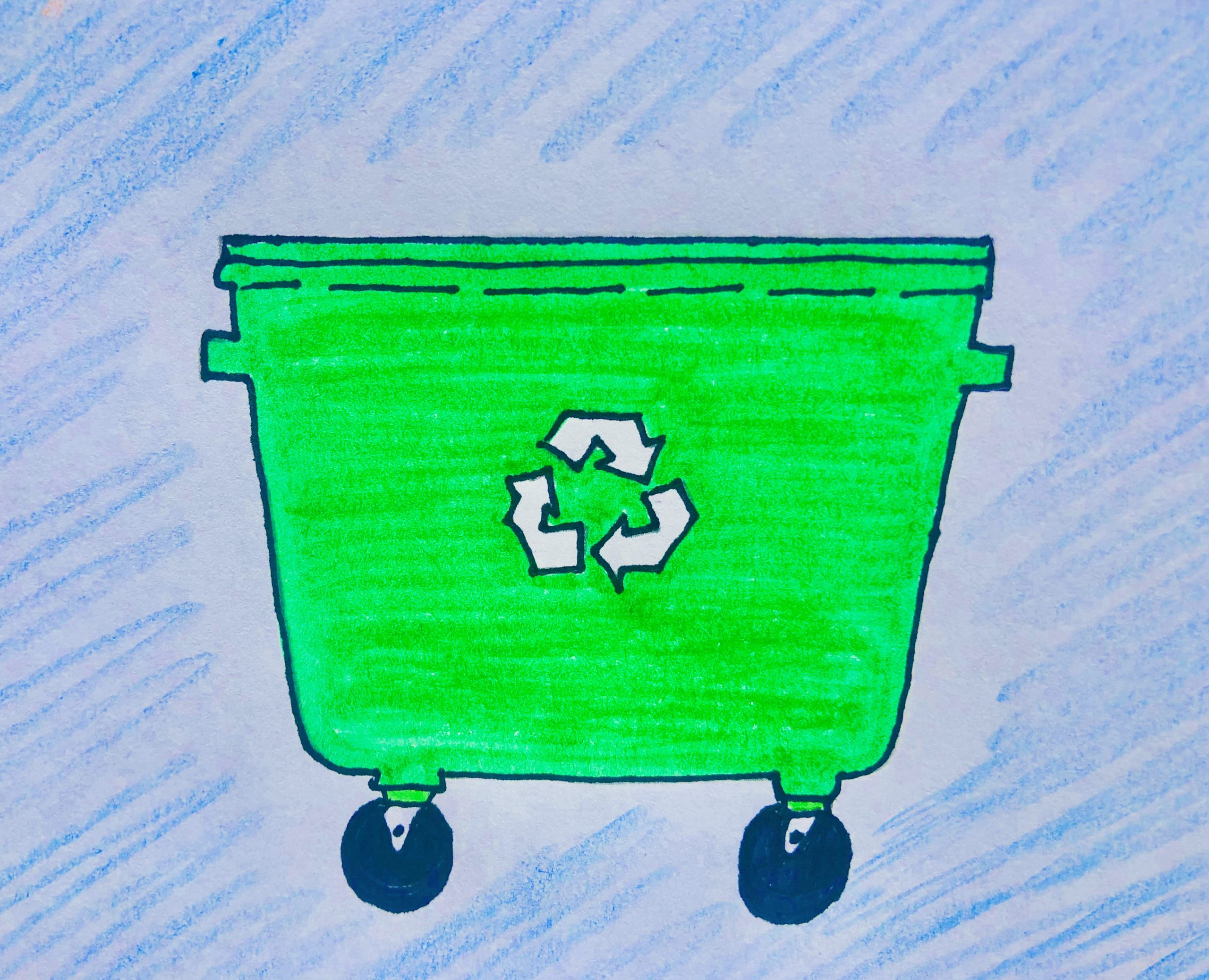 Drawing of a green recycling bin on two wheels with a blue background, from the mystery story for kids called The Case of the Stolen Stuffy.
