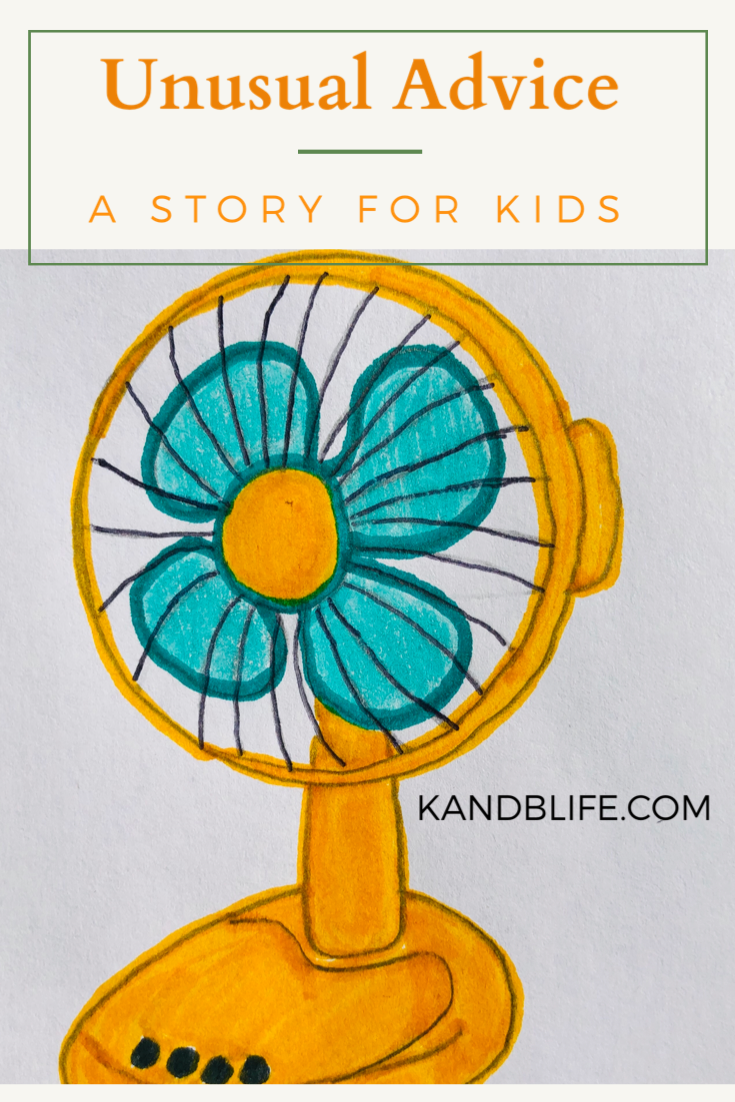 Unusual Advice, a story for kids, book cover. Orange fan with teal blades.