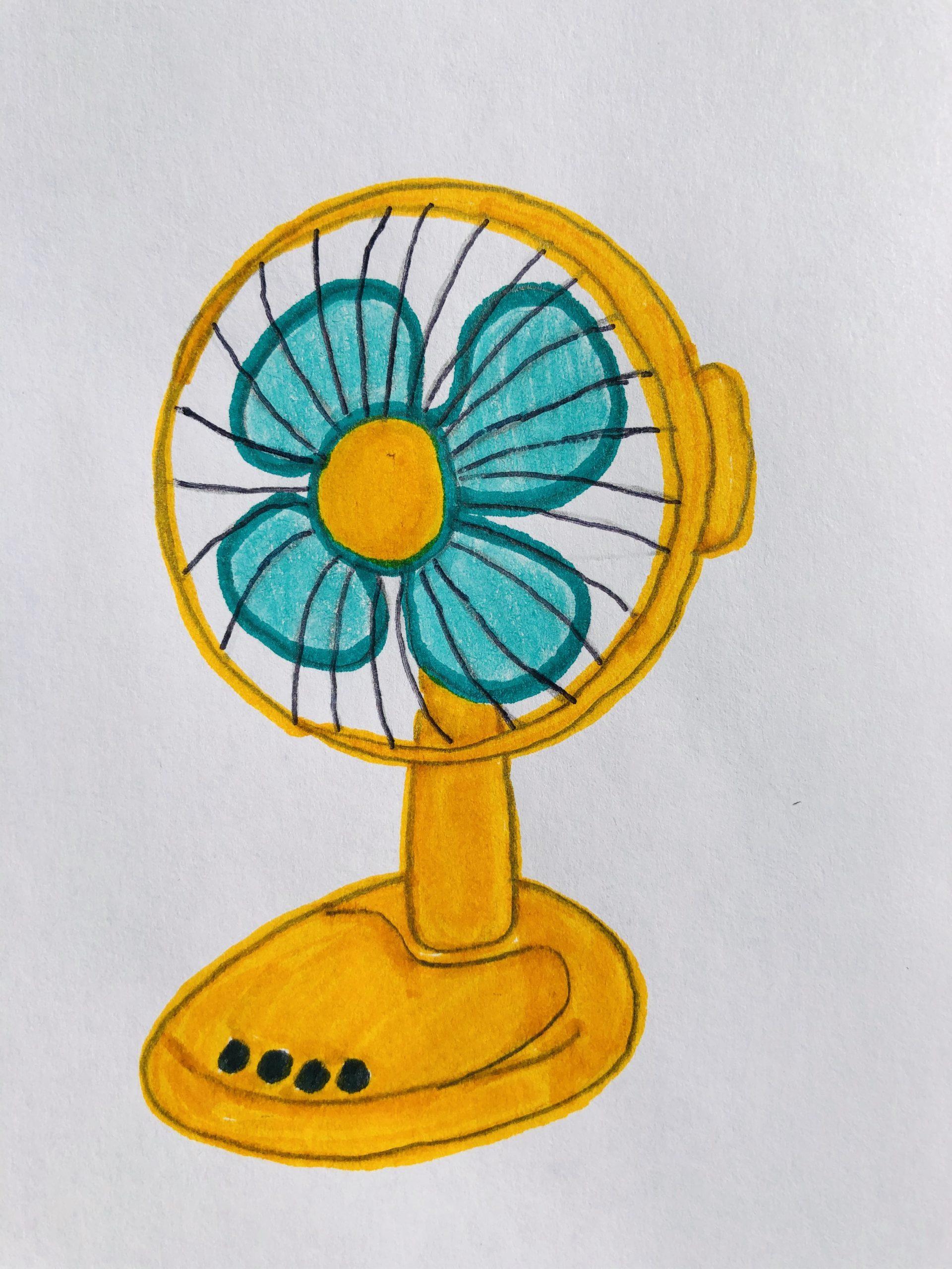 An orange fan with teal blades.