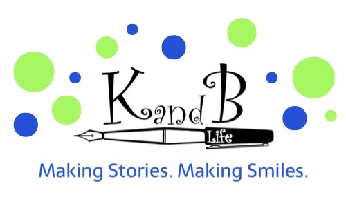 K and B Life Logo with lime green and blue dots
