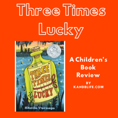 For the children's book review of Three Times Lucky, there's the book cover against a bright orange background.