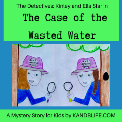 A mystery story for kids, The Case of the Wasted Water cover. Lime green and teal blue.