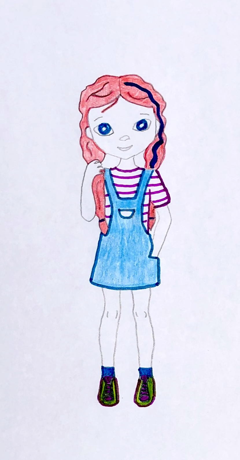Drawing of a red headed girl, Wendy Willows, from the mystery story for kids, The Case of the Wasted Water.