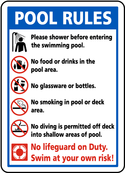 Pool Rules sign for the mystery for kids, The Case of the Wasted Water.