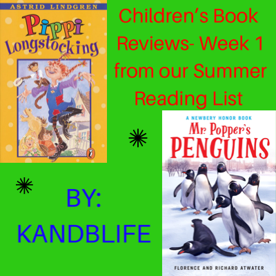 Green Background with Pippi Longstocking and Mr. Popper's Penguins books on it for Children's Book Reviews