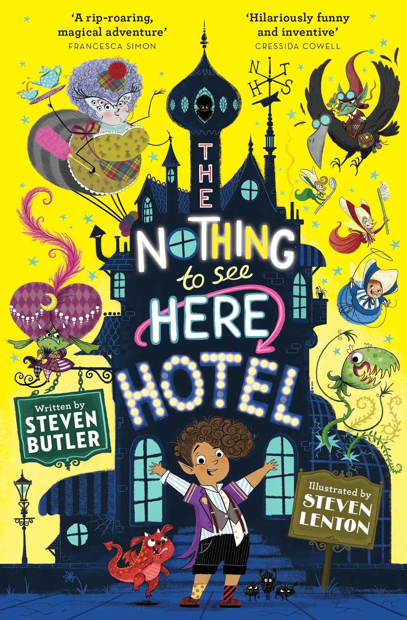 The Nothing to See Here Hotel by Steven Butler yellow book cover for the children's book review