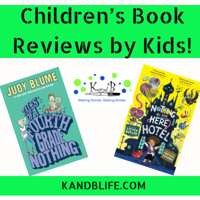 Lime green Children's Book Review cover for Tales of a Fourth Grade Nothing and The Nothing to see Hear Hotel.