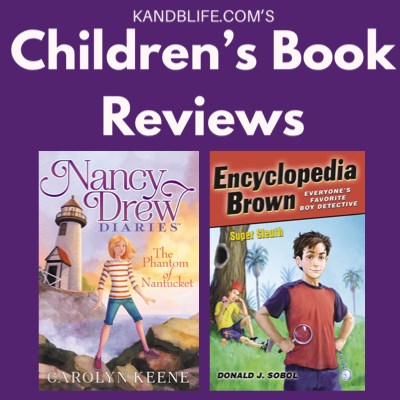 Purple Background with book covers of Nancy Drew's Phantom of Nantucket and Encyclopedia Brown's Super Sleuth on it.