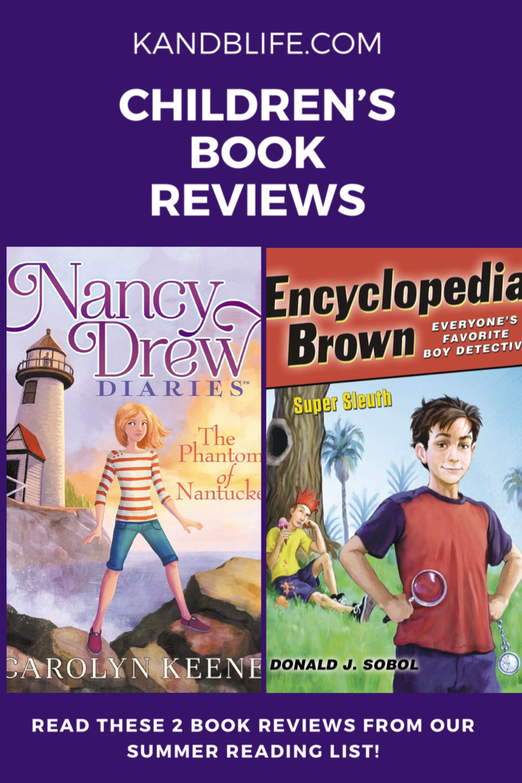 Book covers for Nancy Drew and Encyclopedia Brown against a purple background with Children's Book Reviews written in white.