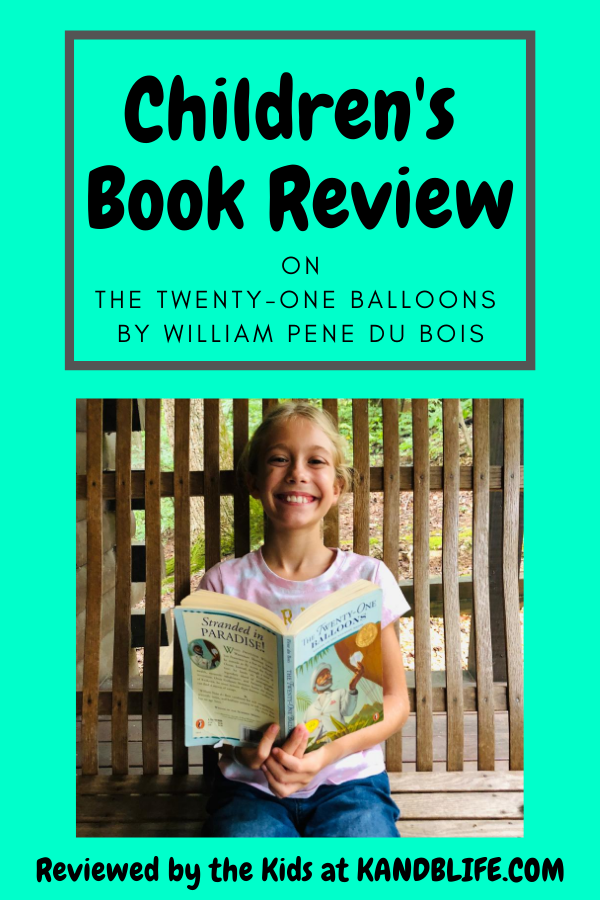 Teal background for the Children's Book Review. Little girl is smiling at the camera holding the book The Twenty-One Balloons.