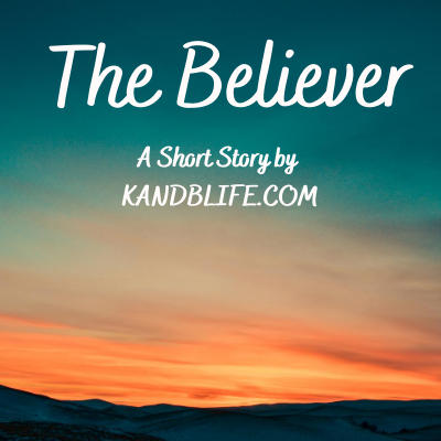 Dark blue, teal sunset with The Believer written in white. It's for the fictional short story for kids.