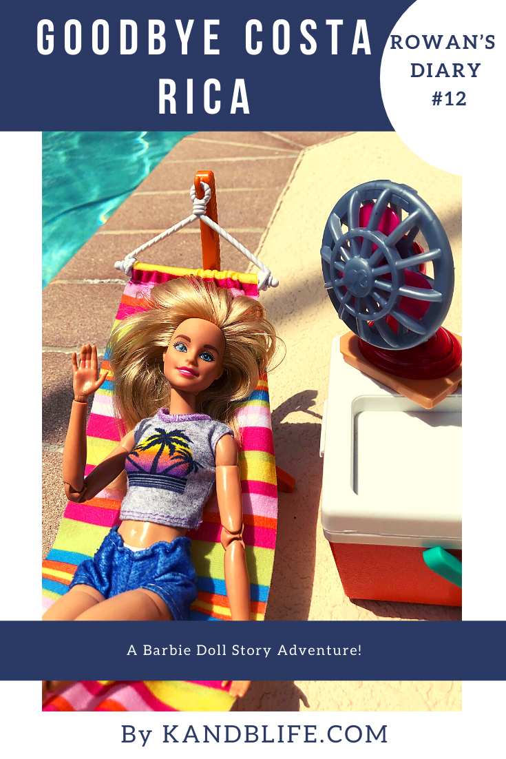 Blue cover for the Bardie Doll Story, Goodbye Costa Rica. Picture of a Barbie laying in a hammock.