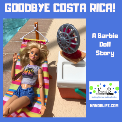 Blue cover for the Barbie Doll Story, Goodbye Costa Rica.