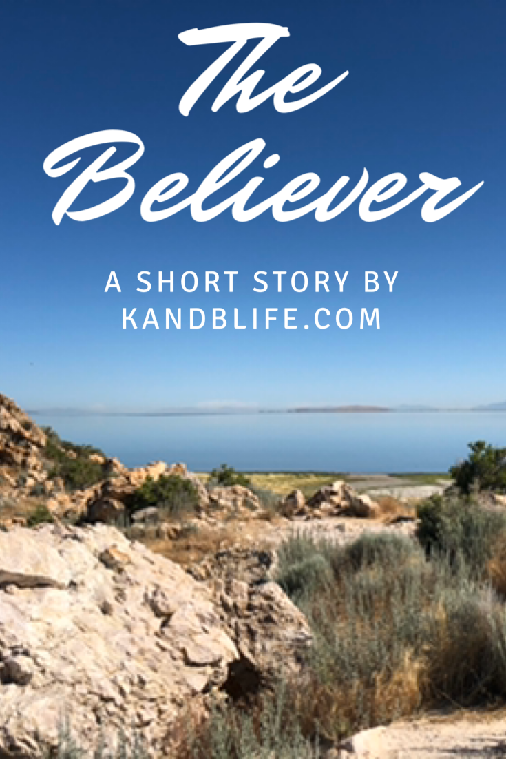 Picture of the Great Salt Lake and some rocks with the fictional short story for kids title in white, The Believer.