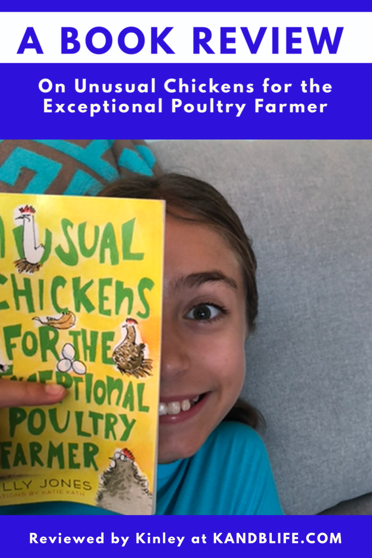 A girl peeking out from a book, smiling, for the Book Review for Unusual chickens for the Exceptional Poultry Farmer