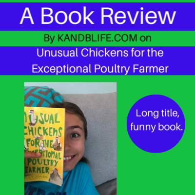 Lime green and blue lettering for the book review on Unusual Chickens for the Exceptional Poultry Farmer.