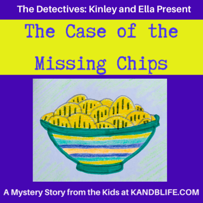 A yellow and purple mystery story cover for the The Case of the Missing Chips.