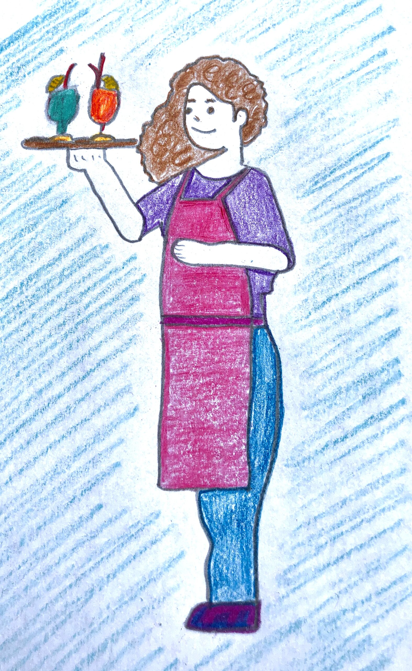 Drawing of a waitress carrying 2 fruity, colorful drinks for the mystery story.