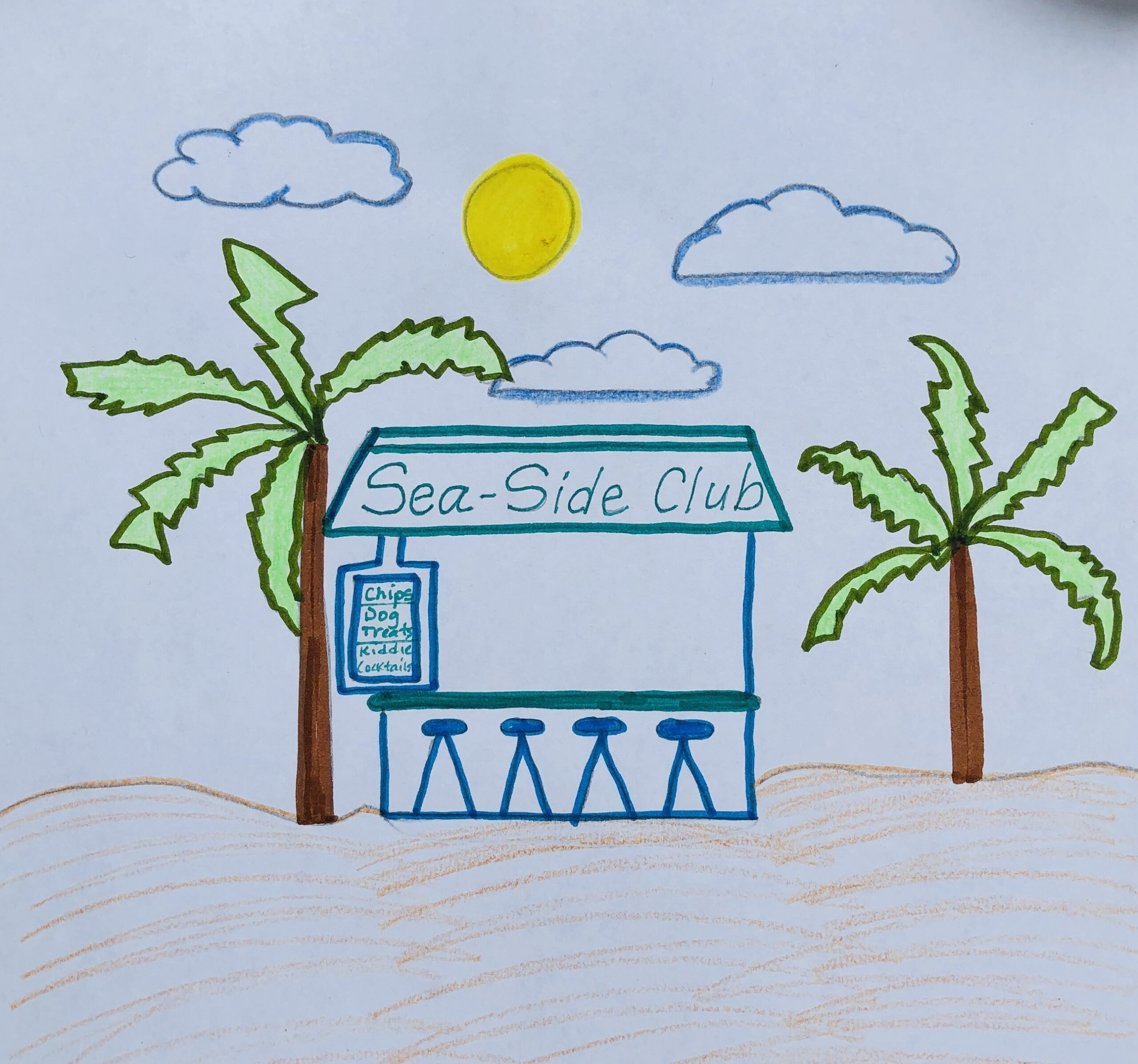 Drawing of a beach club called the Sea-Side Club for the mystery story, the Case of the Missing Chips.